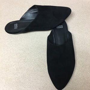 Eileen Fisher slip on black suede pointed flats